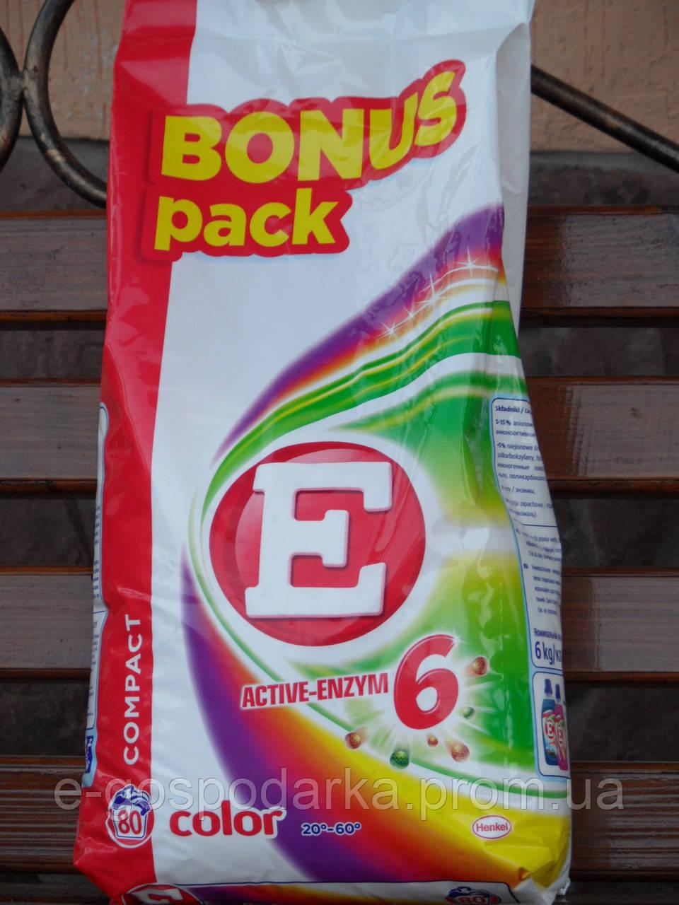 """Стиральный порошок """"E"""" Aktive-enzym 5.6 кг color (80 стирок)"""