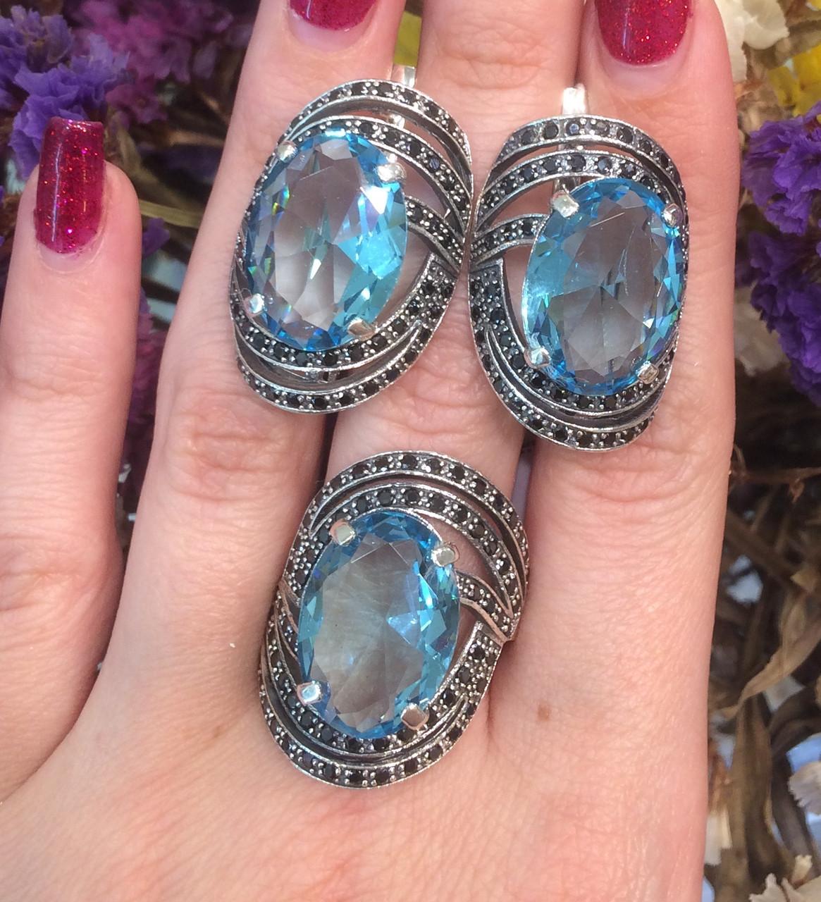 Серебряный комплект кольцо и серьги с черными и голубыми камнями 34090-34091
