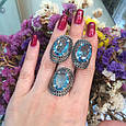 Серебряный комплект кольцо и серьги с черными и голубыми камнями 34090-34091, фото 2