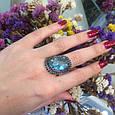 Серебряный комплект кольцо и серьги с черными и голубыми камнями 34090-34091, фото 4