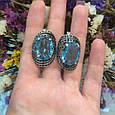 Серебряный комплект кольцо и серьги с черными и голубыми камнями 34090-34091, фото 7