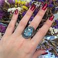 Серебряный комплект кольцо и серьги с черными и голубыми камнями 34090-34091, фото 5