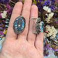 Серебряный комплект кольцо и серьги с черными и голубыми камнями 34090-34091, фото 8