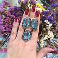 Серебряный комплект кольцо и серьги с черными и голубыми камнями 34090-34091, фото 9