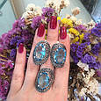 Серебряный комплект кольцо и серьги с черными и голубыми камнями 34090-34091, фото 10