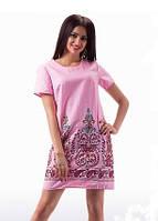 Розовое платье из льна с вышивкой