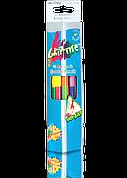 Набор цветных акварельных двухсторонних треугольных карандашей  12 штук,24 цвета + кисточка .Марко Grip-Rite