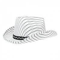 """Шляпа """"Ковбойка"""" белого цвета в полоску."""