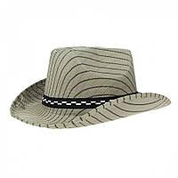 """Шляпа """"Ковбойка"""" бежевого цвета в полоску."""