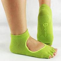 Носки для йоги нескользящие полупальцы хлопок