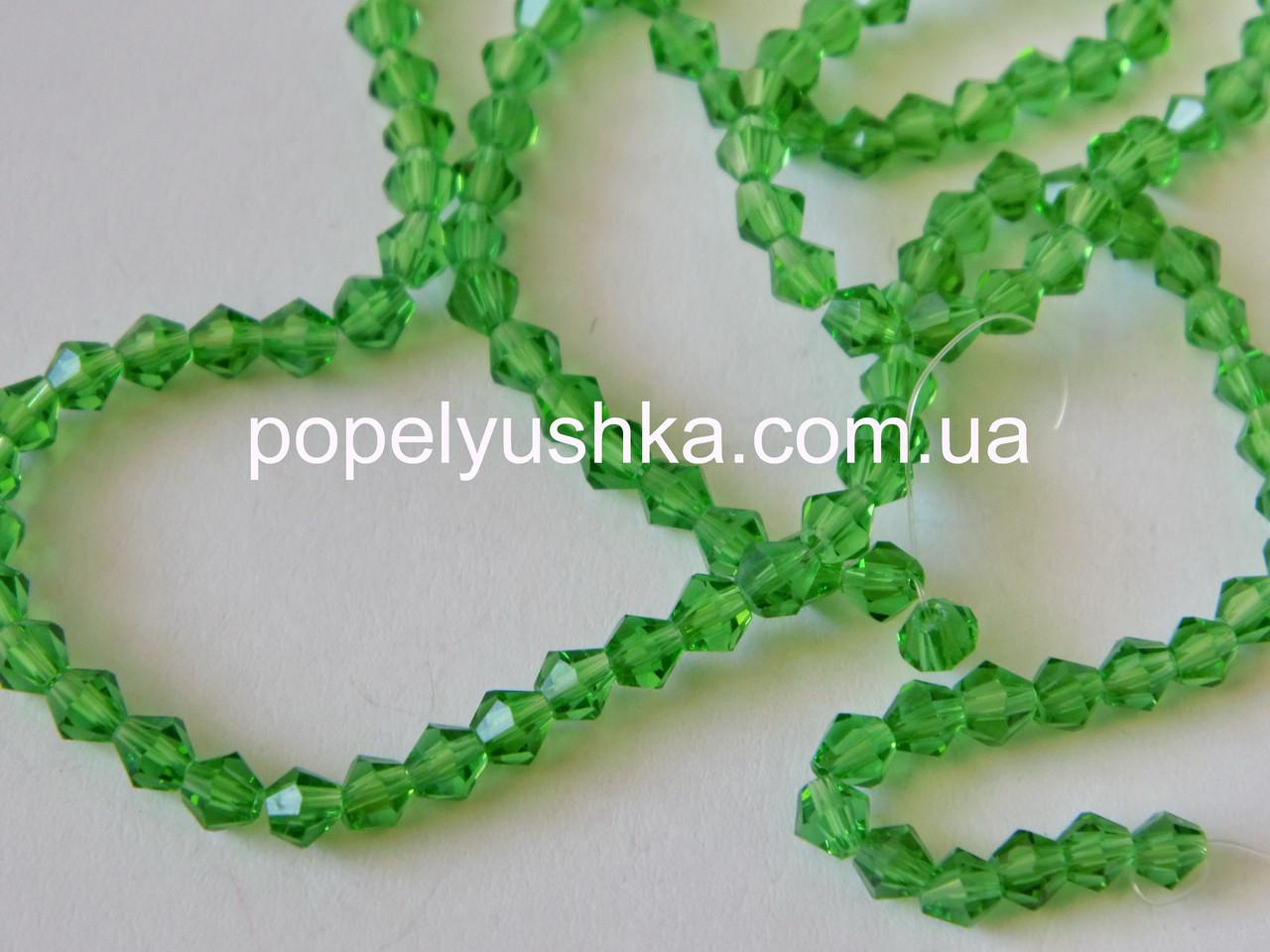 Намистини  біконус кришталеві (Чехія) Зелений 4 мм (10 шт.)