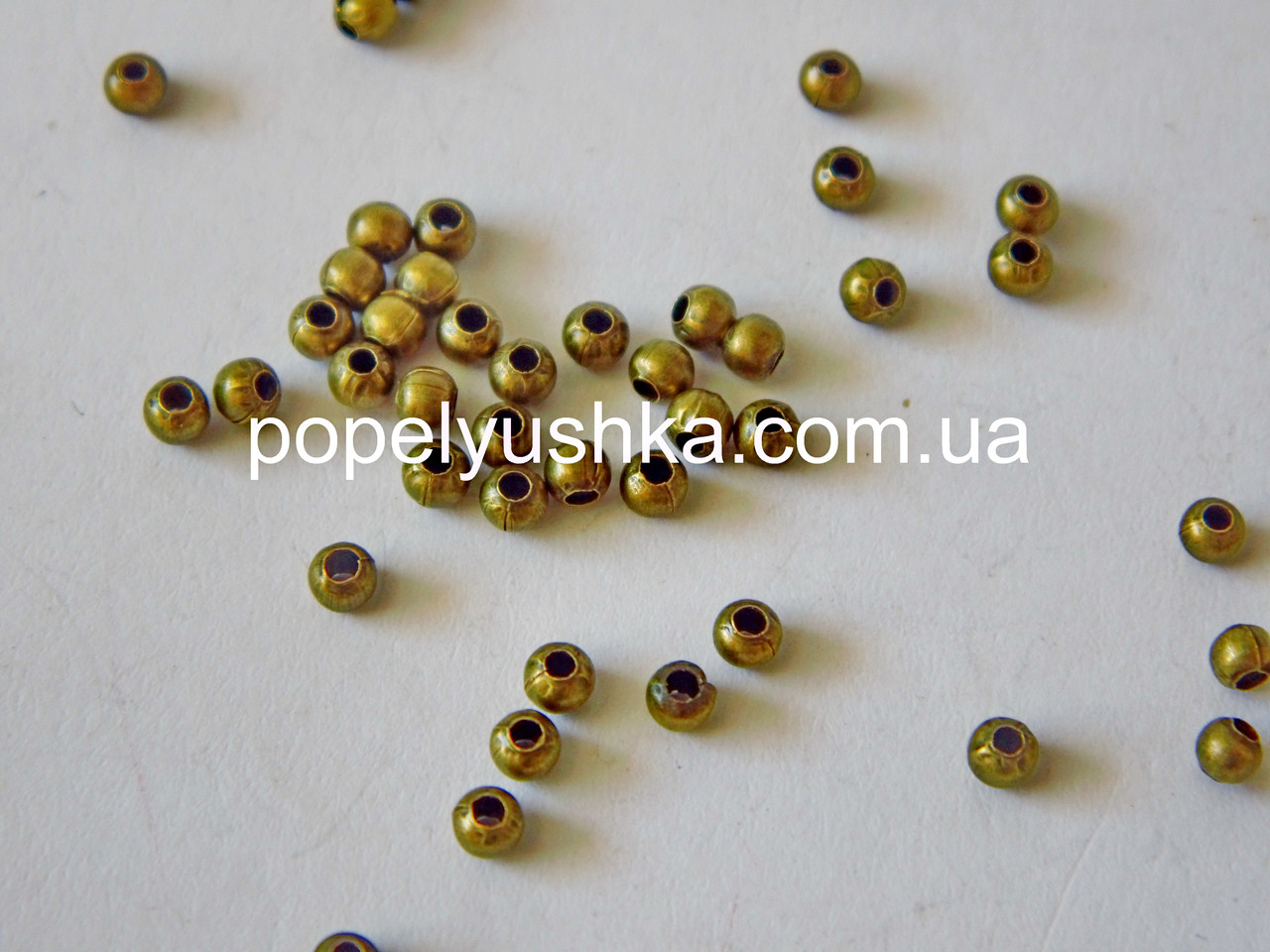 Бусины металлические круглые 3 мм Бронза (10 шт)
