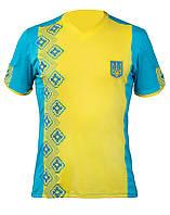Мужская желто-голубая футболка с патриотической вышивкой