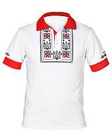Мужская белая футболка-поло с вышитой национальной символикой
