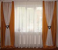 Комплект штор двойные коричневые, фото 1