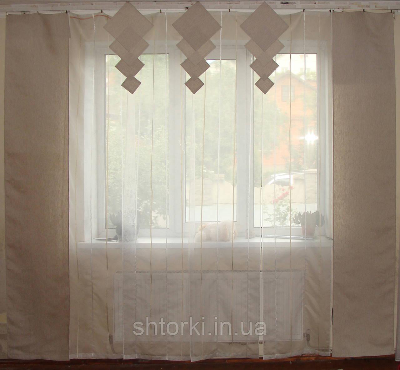Комплект панельних шторок нануралка молочна