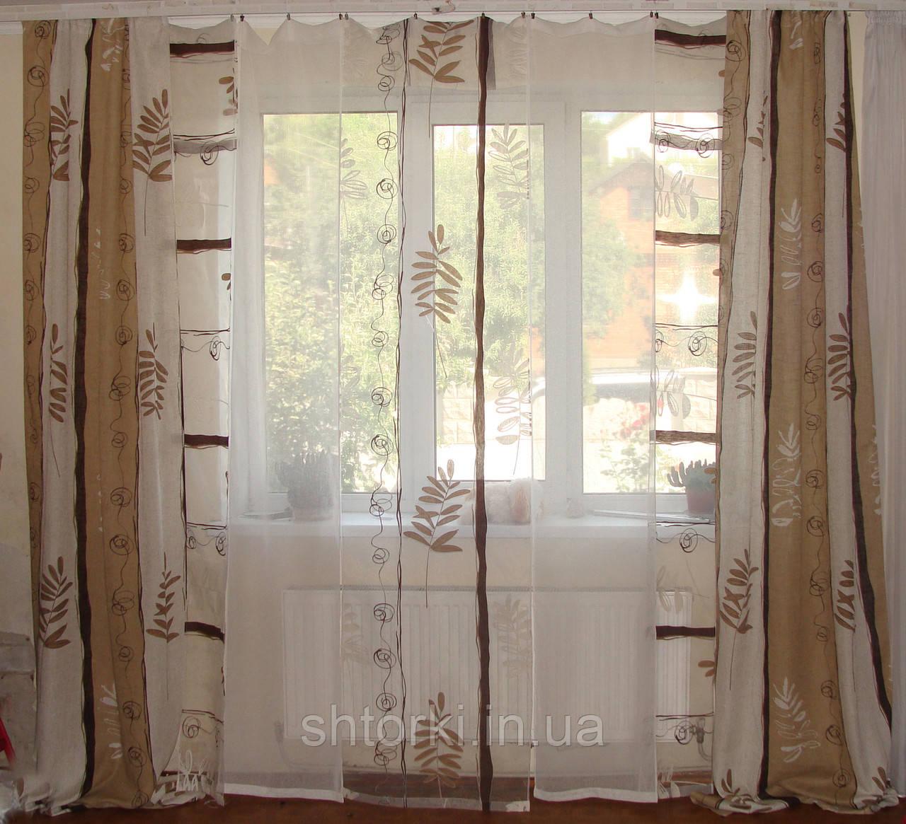 Комплект панельних шторок льон