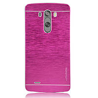 Чехол Motomo Line Series Metal + PC для LG G3 D855 Pink