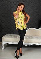 Женская яркая блузка с воротником
