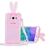 Чехол силиконовый Rabbit Ears Holder для Samsung Galaxy A5 A500 розовый прозрачный