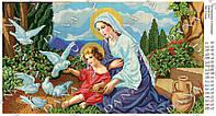 """Схема для вышивки бисером """"Богородица с голубями"""""""