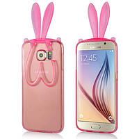 Чехол силиконовый Honey Bunny Ears Holder для Samsung Galaxy S6 G920F прозрачный розовый