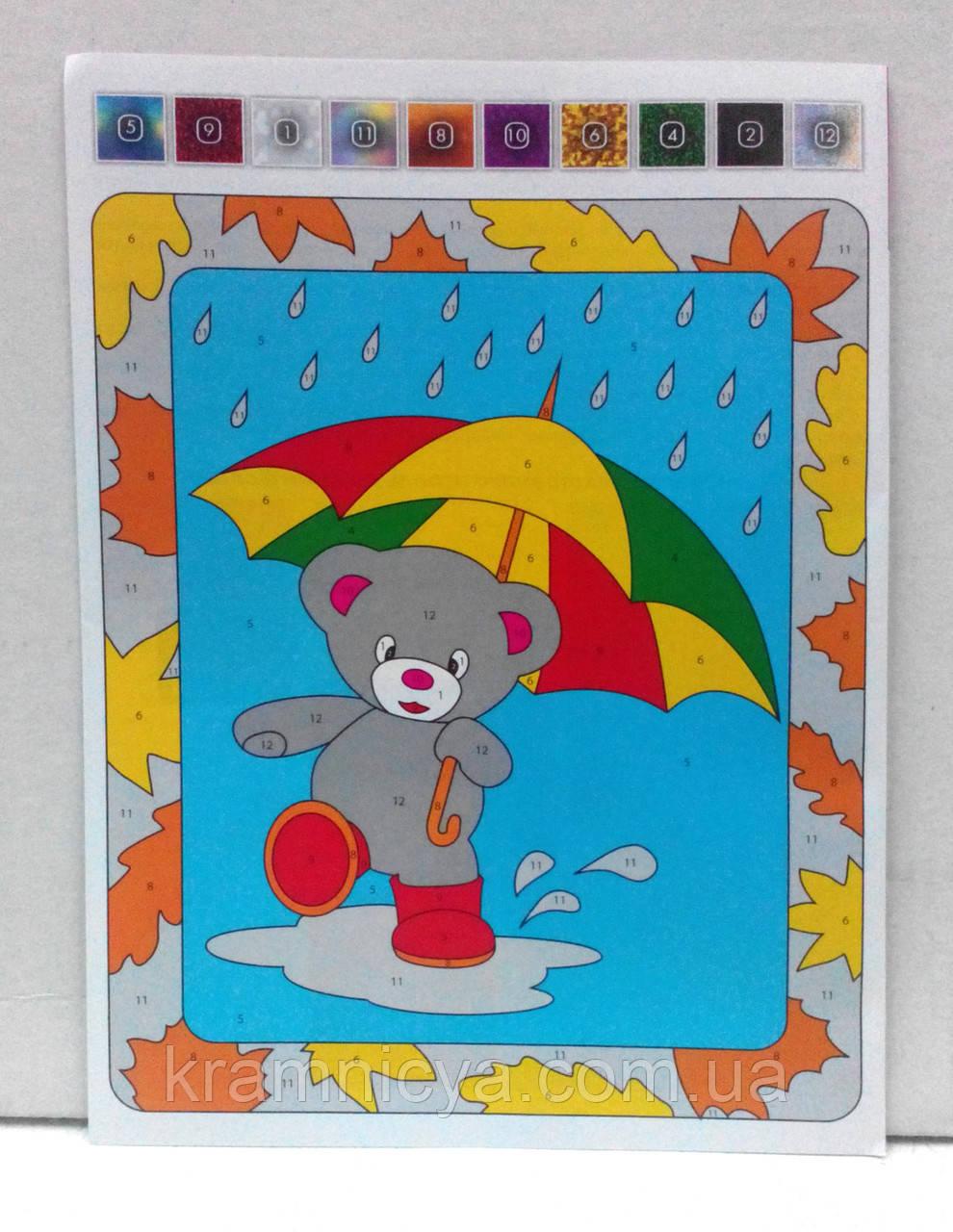 Аппликация цветной фольгой Мишка под зонтиком