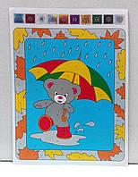 Аппликация цветной фольгой Мишка под зонтиком, фото 1