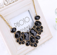 Стильное колье ожерелье черное женское