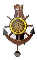 Часы настенные с маятником якорь штурвал оригинальные