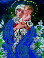 Схема для вышивки бисером Мадонна с младенцем в лилиях КМИ 4061