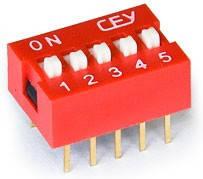 DS1040-05RN, DIP переключатель 5pin красный