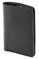 Удобный вертикальный бумажник черного цвета Shvigel 00423