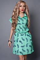 Платье-рубашка из креп шифона,декорировано поясом, 46-48,48-50,50-52