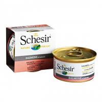 Schesir ЛОСОСЬ в собственном соку (Salmon Natural Style) влажный корм консервы для кошек, банка 85гр