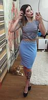 Костюм летний С юбкой цвет голубой джинс