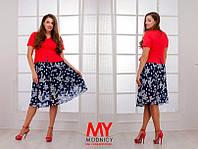 Костюм женский летний С шифоновой юбкой цвет пиджака красный БАТАЛ