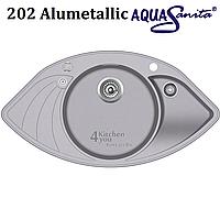 Угловая гранитная мойка 945х505 мм. AquaSanita Papilon SCP-151 AW с клапаном-автоматом