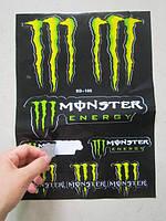 Наклейки MONSTER ENERGY -  A4 лист