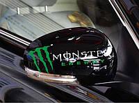 Наклейка на зеркало - Monster Energy -  Белая