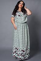 Длинное в пол легкое летнее женское платье из штапеля, 50,52,54,56