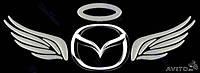 """3D наклейка на логотип """"Крылья ангела""""  цвет хром."""