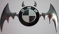 """3D наклейка на логотип """"бэтмен""""  цвет хром. , фото 1"""