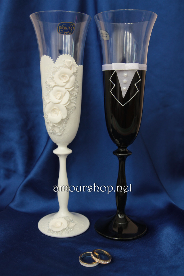бокалы и свечи свадебные цена фото ручная работа