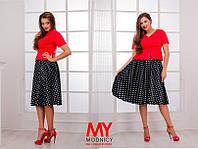 Костюм женский летний С атласной юбкой цвет пиджака красный БАТАЛ
