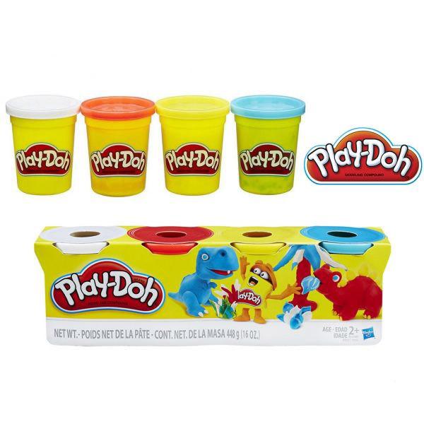 Набор пластилина Play-Doh 4 цвета общим весом 448 грамм (Динозавры). Оригинал Hasbro B6508/B5517