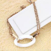 001-0443 - Великолепный браслет с белой керамической вставкой плетение Сингапур розовая позолота, 18+3 см
