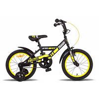 """Детский велосипед PRIDE FLASH черно-жёлтый матовый, 16"""" (BB 15)"""