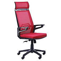 Кресло Тесла (Tesla) - сетка красная,каркас черный