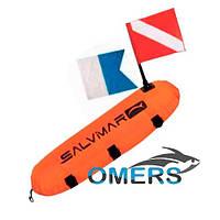 Буй Salvimar Torpedo в чехле с двумя флагами (CMAS & ALPHA) для подводной охоты